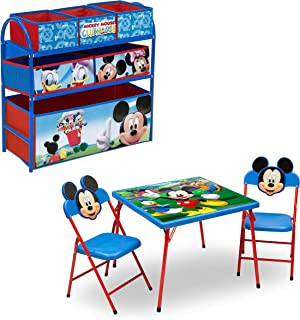Disney Mickey Mouse 4-Piece Playroom Furniture Set for Kids: Table with 2 Chairs & Multi-Bin Toy Organizer by Delta Children
