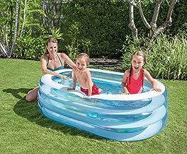 Aufblasbarer Pool Oval | Planschbecken | Aufstellpool | Swimmingpool | Kinderpool | Babypool | Schwimmbecken für Kleinkinder Kinder ab 3 Jahre für Garten | 163 x 107 x 46 cm