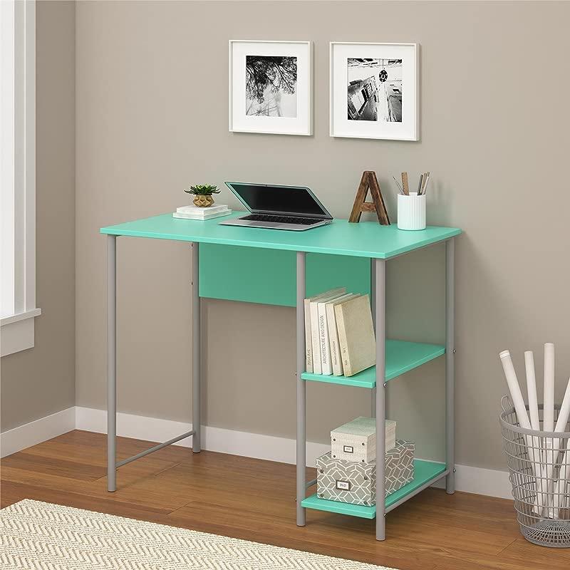 Garrett Metal Office Desk With 2 Side Shelves Spearmint Silver