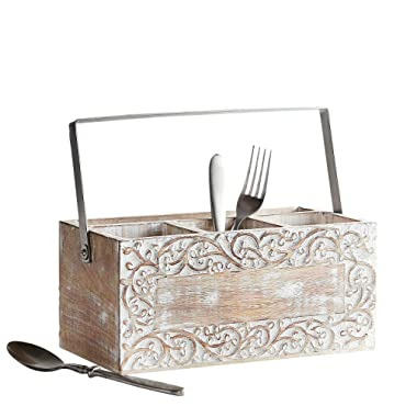 Hand-Carved White Washed Vine Utensil Caddy by Pier 1 Imports