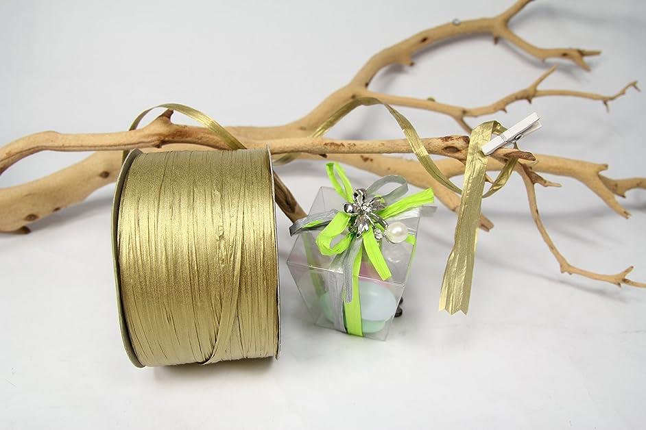 Gold Paper Raffia Ribbon Bow-100 Yards X 1/4 Inch