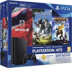 Sony PlayStation 4 Game Console 500GB Horizon Zero Down Drive Club 3 Months Bundle, Black