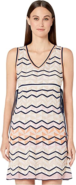 Sleeveless Short Dress in Zigzag Stitch