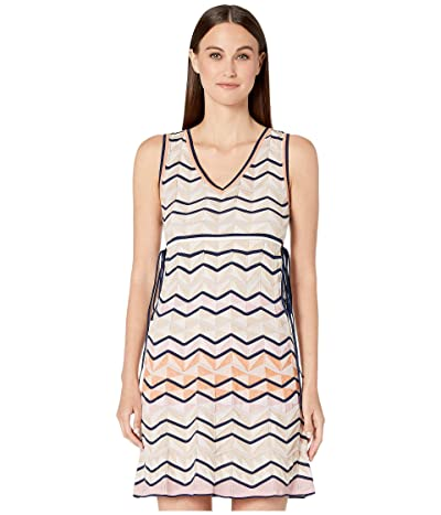 M Missoni Sleeveless Short Dress in Zigzag Stitch (White/Beige) Women