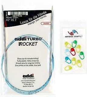 addi Knitting Needles Circular Turbo Rocket Lace White-Bronze Skacel Exclusive Blue Cord 47 inch (120cm) Size US 04 (3.5mm) Bundle with 10 Artsiga Crafts Stitch Markers