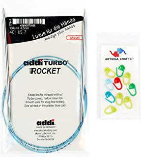 addi Knitting Needles Circular Turbo Rocket Lace White-Bronze Skacel Exclusive Blue Cord 40 inch (100cm) Size US 10.5 (6.5mm) Bundle with 10 Artsiga Crafts Stitch Markers