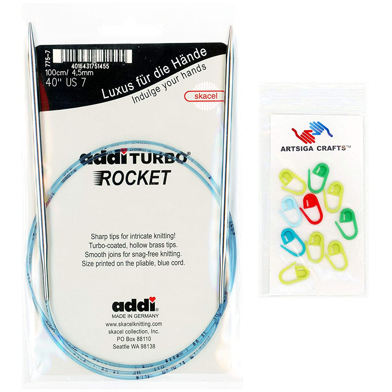 addi Knitting Needle Circular Turbo Rocket Lace White-Bronze Skacel Exclusive Blue Cord 47 inch (120cm) Size US 1 (2.5mm) Bundle with 10 Artsiga Crafts Stitch Markers