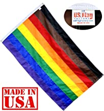 US Flag Factory - 3x5 FT Philly Rainbow Flag (Individually Sewn Stripes) Outdoor SolarMax Nylon - Premium Quality - Made in USA - Gay Pride Lesbian LGBT (3x5 FT (Philly))