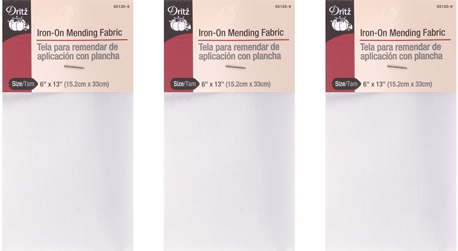 Dritz 55120-9 Iron-On Mending Fabric, White, 6 by 13-Inch (3 Pack)