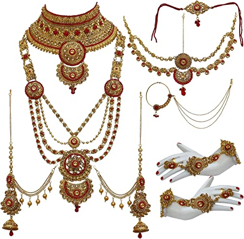 Bridal Dulhan Alloy Gold Plated Jewellery Set for Girls Women