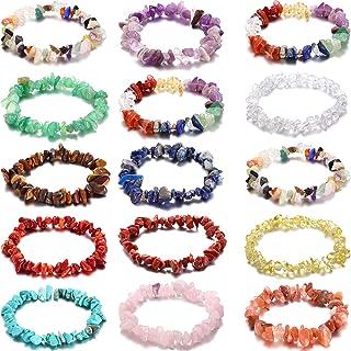 Hicarer 15 Pieces Crystal Chip Bracelets Set Natural Gemstone Bracelets Crystal Stretch Bracelets Irregular Chips Beads Br...