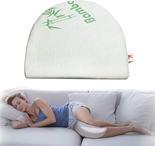 Pregnancy Wedge Pillow - Bamboo - Premium Memory Foam - Comfortable Knee Pillows for Side Sleepers (Supporting Leg, L...