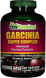 Garcinia Cambogia 500 Mg Plus Green Coffee and Raspberry Ketones by TNVitamins 60 Tablets