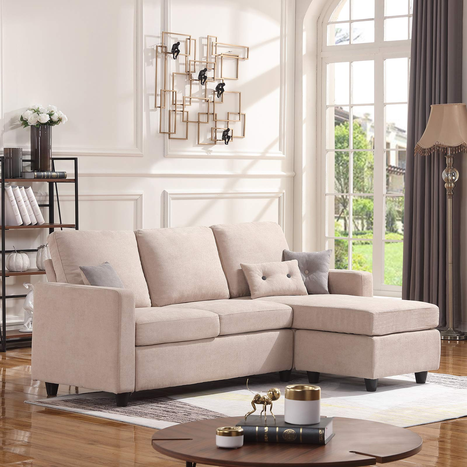 HONBAY Convertible Sectional L Shaped Modern