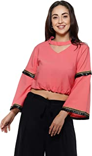 Sakia Crop Top with Black Lace On Bell Sleeve (Crepe) - Peach