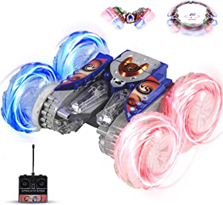 Haktoys HAK104 RC Stunt Master Extreme 360° Tumbling & Spinning Action Acrobatic Rechargeable Car Radio Control with LED Lights, Colors May Vary, Safe & Durable, Great Present for Kids, Boys & Girls
