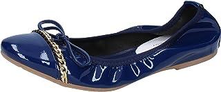 Crown Ballerine Donna Pelle Verniciata Blu