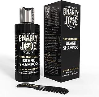 Gnarly Joe Champú 100% Natural para el Cuidado de la Barba | Contiene Jabón Negro Africano, Aceite de Argán, Manteca de Karité y Aceite de Coco | Perfecto para la Piel Sensible | 250 ml (100ml)