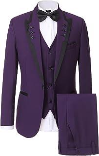 Solovedress Men's 3 Pieces Business Suit One Button Tuxedos Purple Men Suit Blazer for Groomsmen