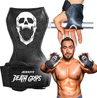 JerkFit Death Grips Ultra Premium Lifting Straps for Deadlifts, Pull Ups, Heavy Shrugs | Lifting Hand Grips with Padded Support | Palm Protection & Increased Grip for Heavy Pull Lifts. (Pair)