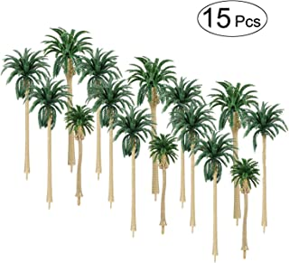 ORZIZRO 15Pcs Model Palm Trees 2.8'' - 6.3'' Mixed Model Coconut Trees HO O N Z Scale, Perfect for All Scenery Landscape Cake Toppers Decoration