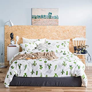 YuHeGuoJi 3 Pieces Duvet Cover Set 100% Cotton White King Size Green Cactus Pattern Bedding Set 1 Fresh Garden Design Duvet Cover with Zipper Ties 2 Pillowcases Luxury Quality Soft Breathable Durable