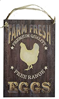 "Farm Fresh Eggs Wood Sign | 7.5"" x 5"" by StudioR12 Free Range Chicken Decor, Americana Rustic Detail for Farm, Homestead, Organic Lifestyle, Great Gift for Backyard Coop Urban Farmers"