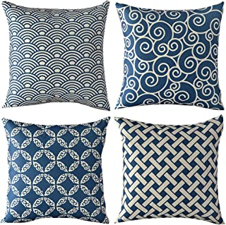 WOMHOPE Set of 4 Colorful Geometric Throw Pillow Covers Decorative Burlap Toss Pillowcases Square Cushion Cases 18 x 18 Inch for Living Room,Couch,Bed (Blue Cloud (Set of 4))