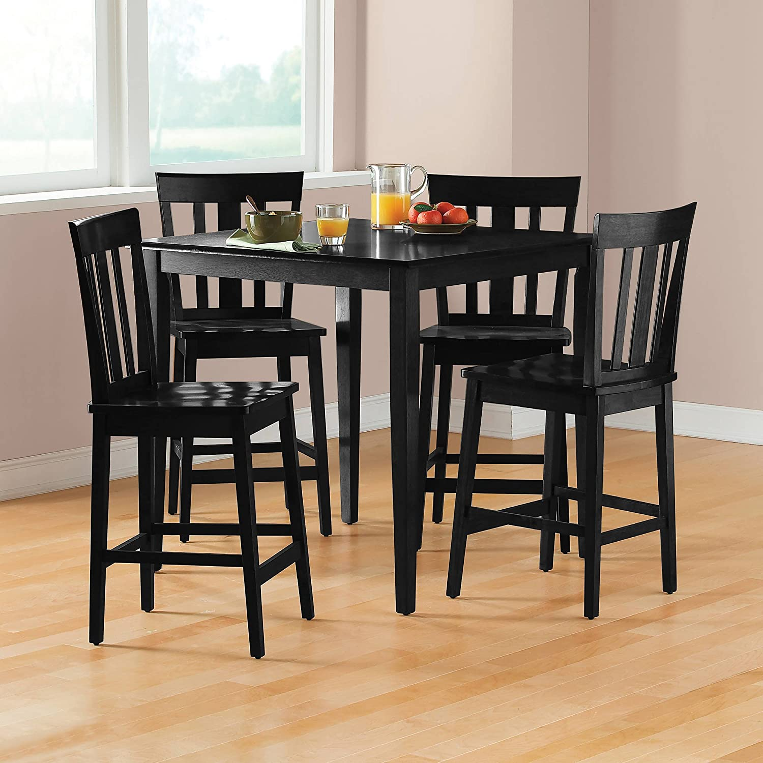 Mainstay 9 Piece Counter Height Dining Set, Warm in Black