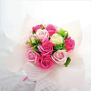 BIOフレグランスソープフラワー ミスティーローズブーケ ローズ12輪 商品 クリアバック・ギフトボックス付 お祝い 記念日 お見舞い 母の日 ブライダル パーティー プレゼント (ピンク)
