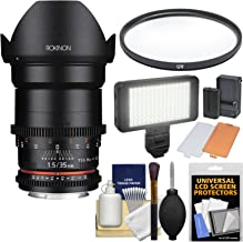 Rokinon 35mm T/1.5 DS Cine Lens with UV Filter + Video Light + Kit for Video DSLR Olympus/Panasonic Micro 4/3 Cameras