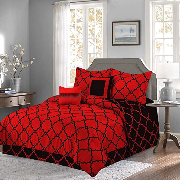 Qutain Linen 6 Piece Bed In A Bag Complete Comforter Set With Free 4 Piece Sheet Set Included Over Stock Sale Red Galaxy Queen Size