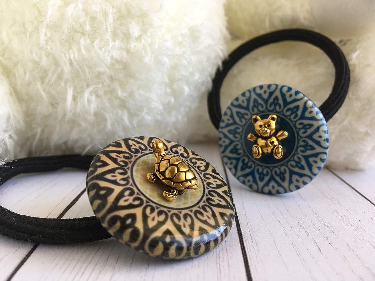 Golden Bear & Turtle Mosaic Decoupage elastic hair tie set GBT11