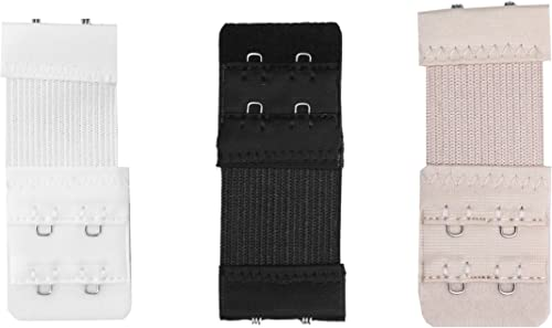 Glus Women's Polyester Bra Extender- Pack of 3 - Free Size (White, Black, Nude)