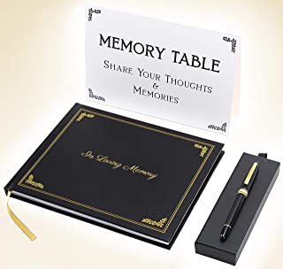 Funeral Guest Book, with Premium Pen, and Memory Table Placard. Celebration of Life Sign in Book with Gold Embossed Hardcover. Signature and Memory Book with Plenty of Space for Guests.