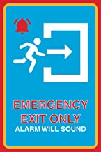Emergency Exit Only Alarm Will Sound Print Bell Running Man Right Arrow Picture Business Office Large Safety, 12x18