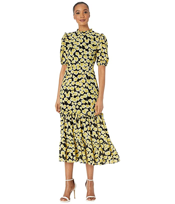 1930s Day Dresses, Afternoon Dresses History Donna Morgan Short Ruffle Sleeve Georgette Dress with Tiered Skirt and Ruffle Neck YellowBlack Womens Clothing $85.28 AT vintagedancer.com