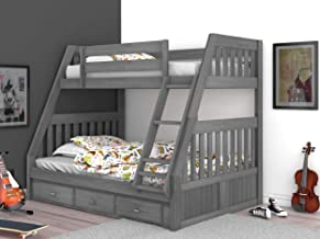 Discovery World Furniture Charcoal Twin Over Full Bunk Bed with 3 Drawer Under Bed Storage