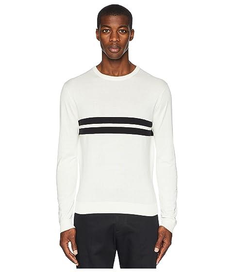 TODD SNYDER Double Stripe Crew Neck T-Shirt, White