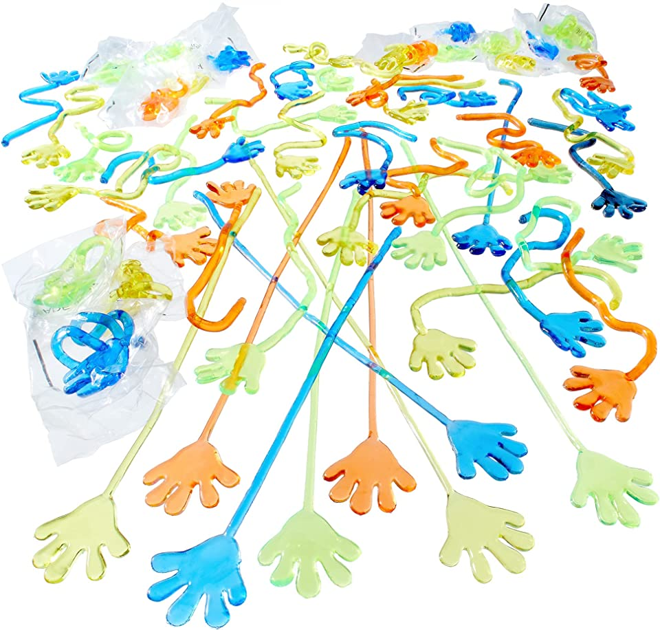 Health and Household Birthday Party Favors, Fun Toddler Toys; Bulk Sticky Hands, (144-Pack), Stretchy, Sensory Toys for Autism or Party Favor Bags, Boxes