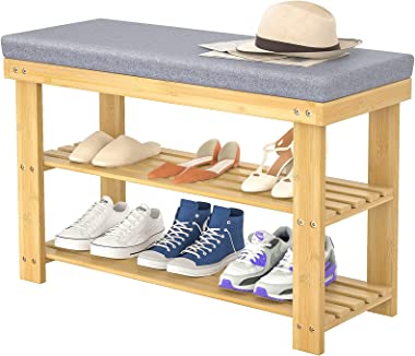 Homykic Shoe Bench Rack, 3-Tier Bamboo Stable Entry Bench Shoes Storage Organizer Shelf with Sponge Cushion for Entryway, Hal