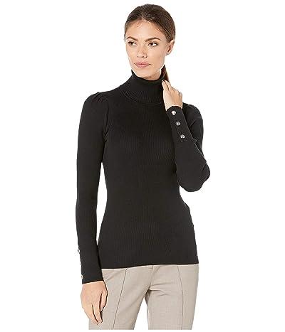 LAUREN Ralph Lauren Puff-Sleeve Turtleneck Sweater (Polo Black) Women