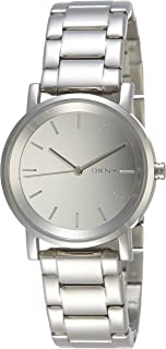 Dkny Women's Quartz Watch, Analog Display and Stainless Steel Strap 674188243377, Silver Band