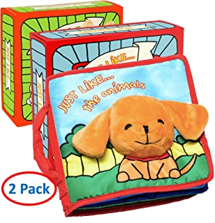 Premium Baby Books (First Year), Cloth Book Baby Gift, Fun Interactive Soft Books, Two Pack for Babies, Infants, Boys & Girls with Crinkly Sounds, Developmental Toy, Cute Baby Shower Box, Touch & Feel