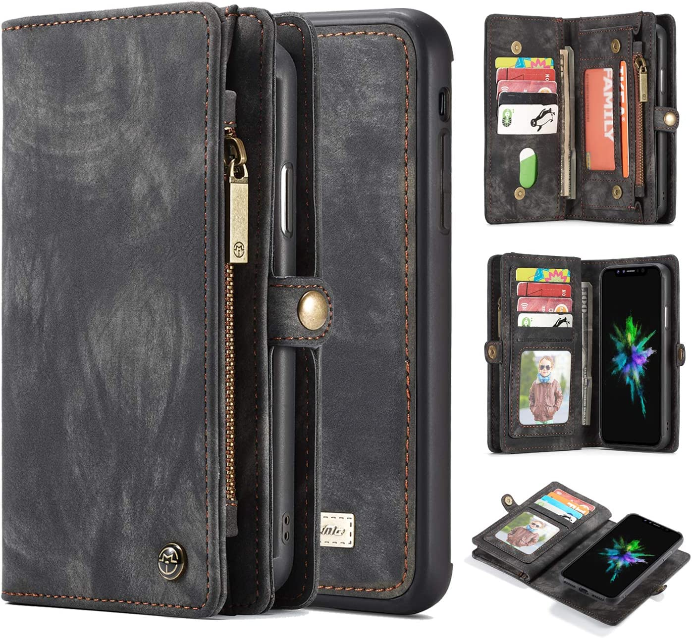 iPhone Xs Max Wallet Case,AKHVRS Handmade Premium Cowhide Leather Wallet Case,Zipper Wallet Case Detachable Magnetic Case & 11 Card Slots [Magnetic Closure] for iPhone Xs Max - Black