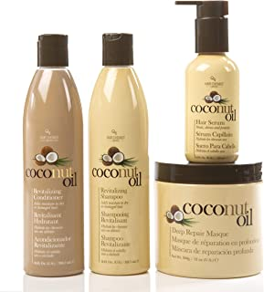 Coconut Oil Hair Care 4 Piece Set - Revitalize and Nourish Dry or Damaged Hair