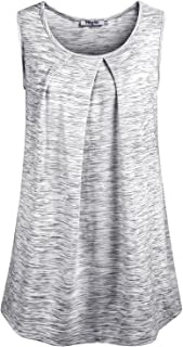 Hibelle Women's Scoop Neck Sleeveless Pleated Front Relaxed Fit Tank Top