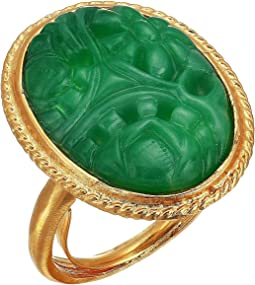 Satin Gold/Carved Jade Center Oval Adjustable Ring