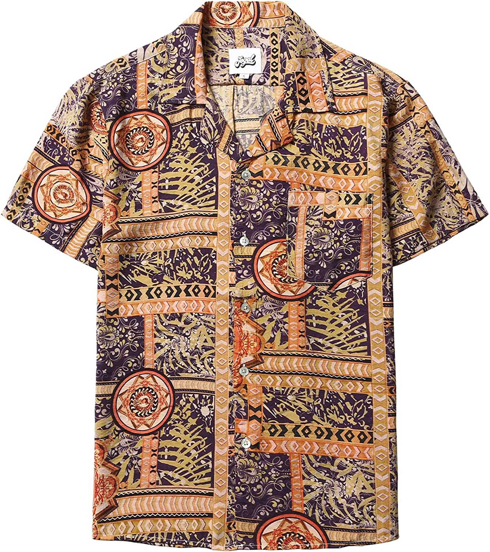 1960s Mens Shirts | 60s Mod Shirts, Hippie Shirts JOGAL Mens Flower Luxury Printed Short Sleeve Button Down Hawaiian Shirts  AT vintagedancer.com