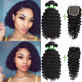 Brazilian Curly Hair Bundles And Closure - Brazilian Hair Deep Curly Bundles With Closure 3 Bundles And Closure 100% Unprocessed 8A Human Hair Bundles And 4x4 Curly Closure Natural Color(10 12 14 +10)